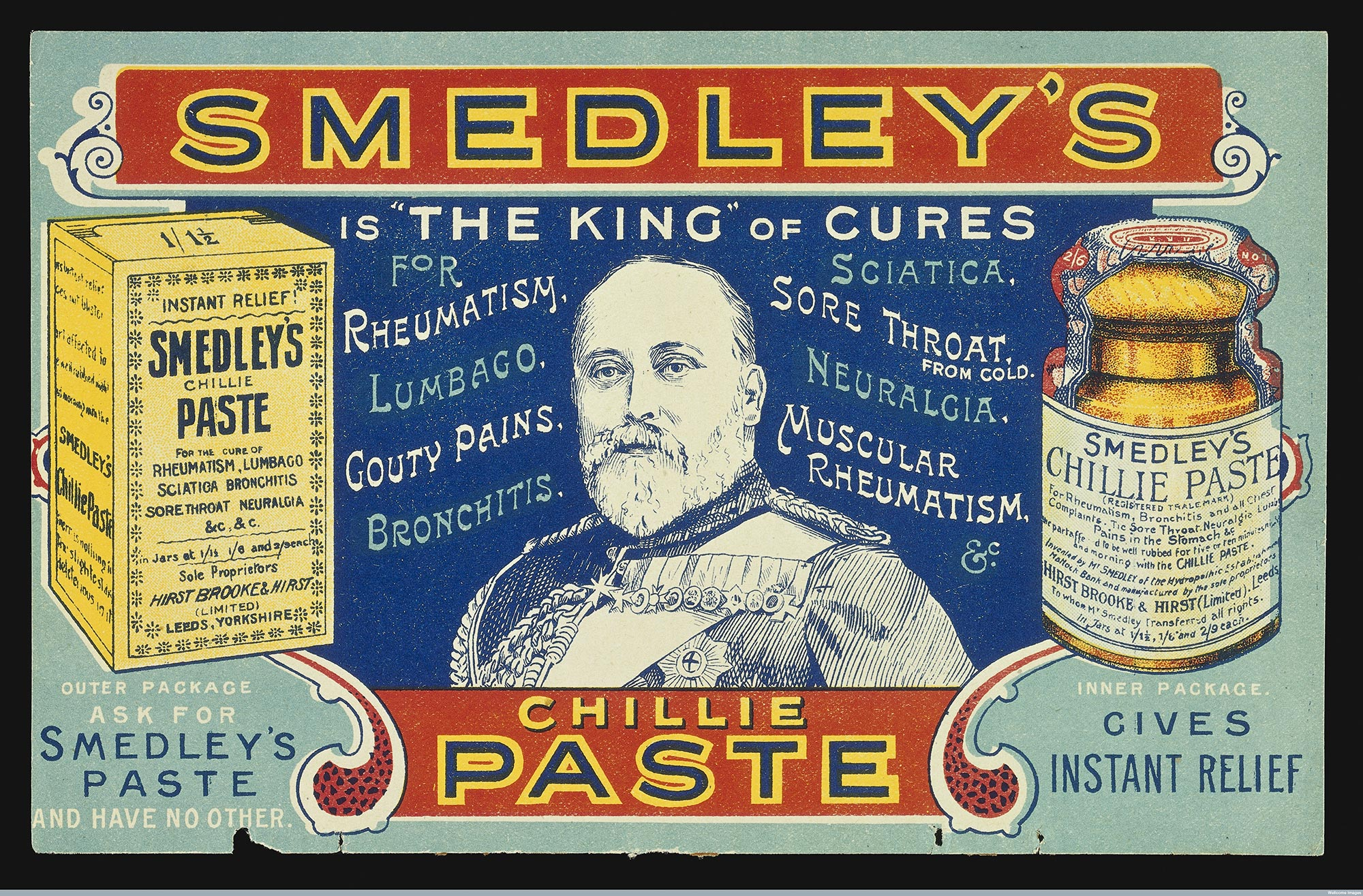Advertisement for Smedley's chillie paste, 'the king' of cure
