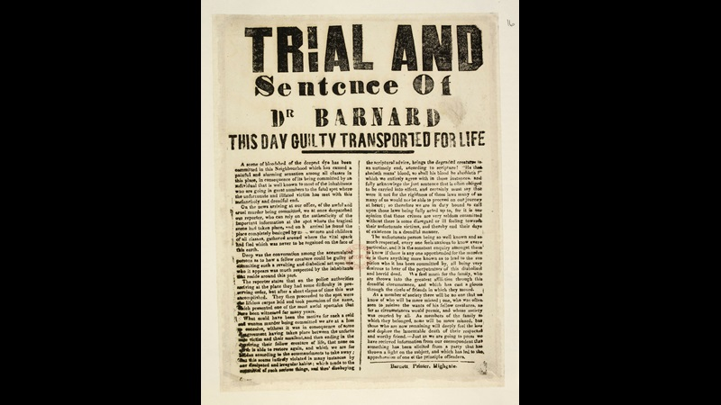 The Trial and Sentence of Dr Barnard this day guilty transported for life