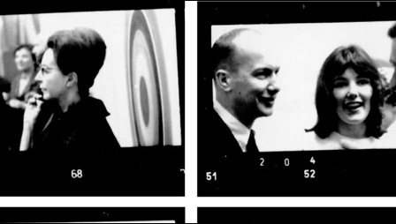 Contact sheet with photographs from the opening party for the first exhibition at Kasmin Gallery. Figures include Richard Smith (top right), Sir John Rothenstein (bottom left), Kasmin and Bruce Chatwin (bottom right).