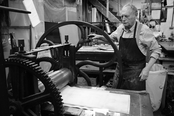 Norman Ackroyd in the studio.