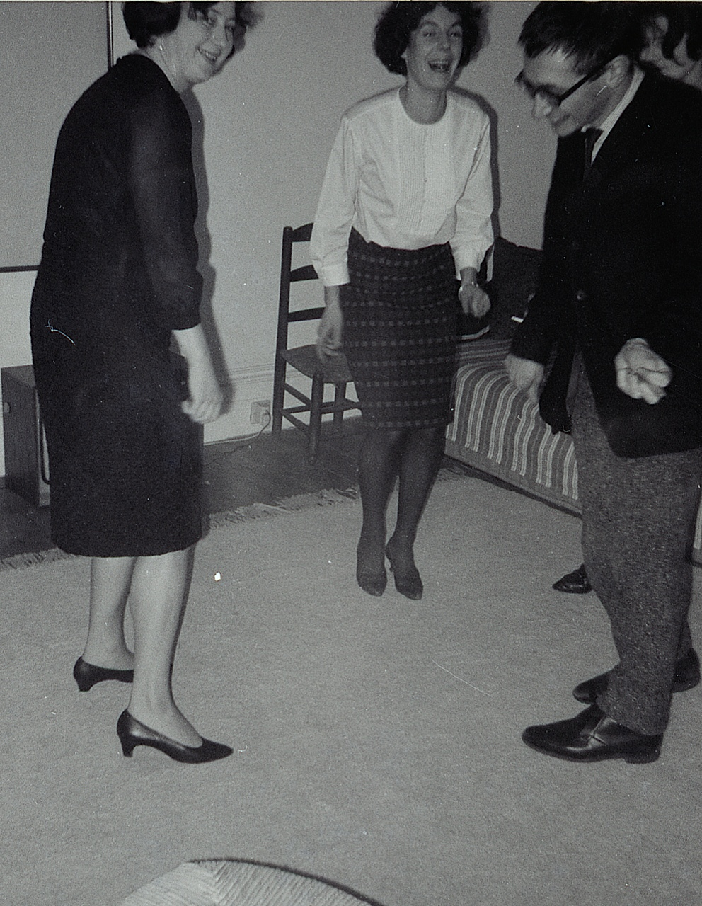 Sheila Girling, Jane Kasmin and John Kasmin dancing at the Kasmins' home in the early 1960s. Kasmin at this time had no gallery and was selling from home, holding 'salons' every Tuesday.