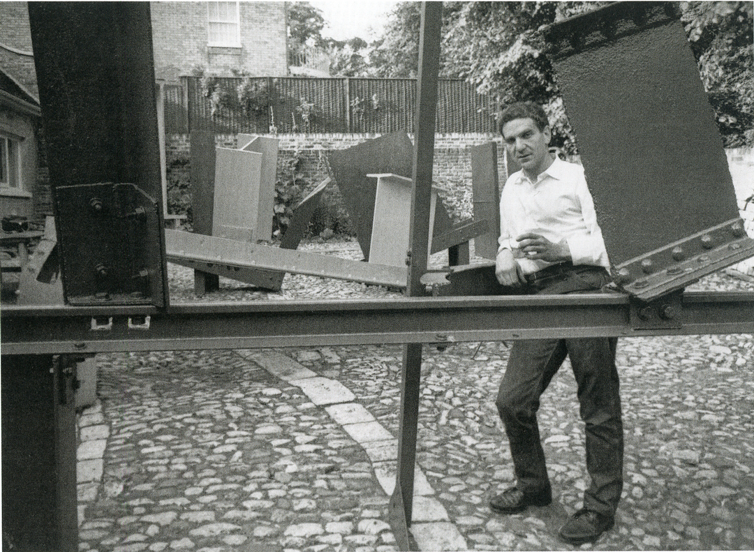 Anthony Caro in the yard of his London home.