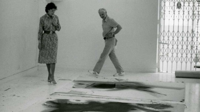 British sculptor Anthony Caro and American painter Helen Frankenthaler in Frankenthaler's studio.