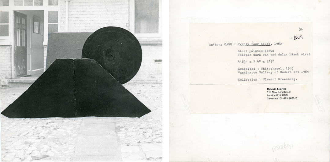 Anthony Caro&#39;s <i>Twenty Four Hours</i> (1960) and reverse of photograph, showing exhibition history and ownership by Clement Greenberg.