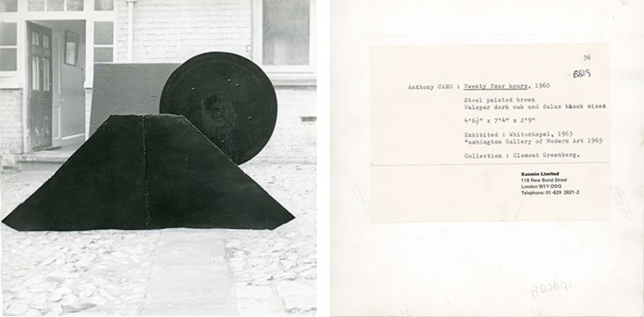 Anthony Caro's <i>Twenty Four Hours</i> (1960) and reverse of photograph, showing exhibition history and ownership by Clement Greenberg.