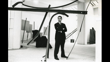 Anthony Caro at his Whitechapel Gallery exhibition curated by Bryan Robertson, 1963.