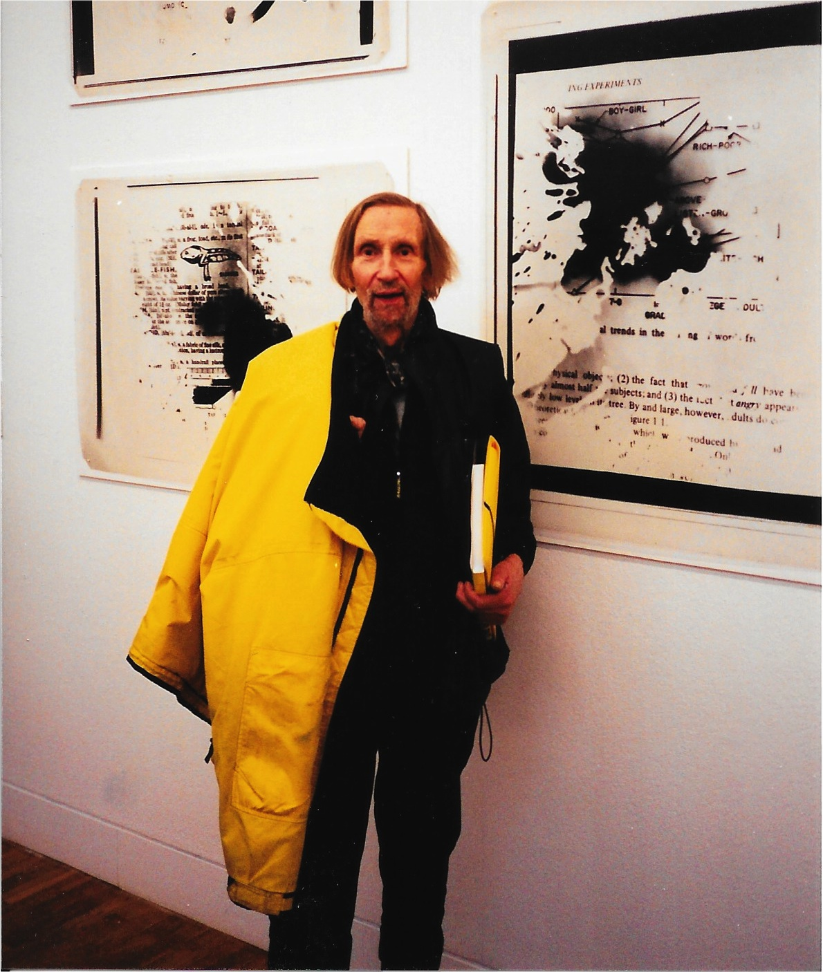 John Latham, photographed by Clive Phillpot at the opening of the exhibition <i>Live in Your Head</i> at the Whitechapel Gallery on 3 February 2000.