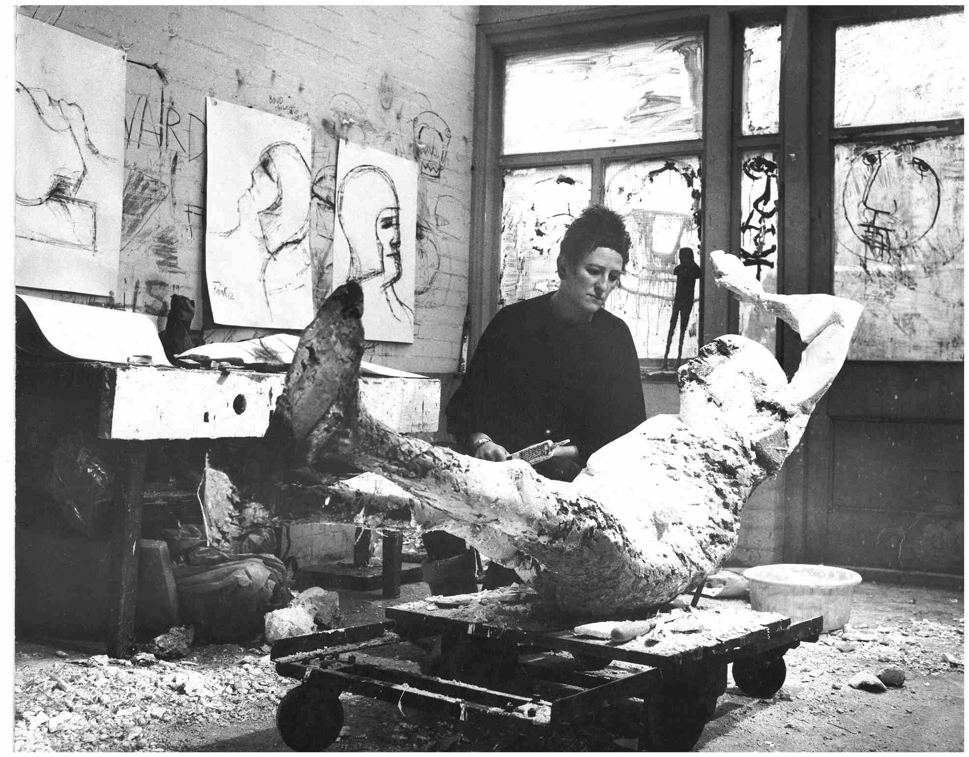 Elisabeth Frink with <i>Dying King</i>, Fleming Close studio, Winterton Place, London (1954-65).