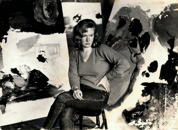 Gillian Ayres with canvases, photographed by Roger Mayne.