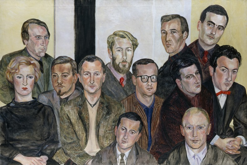 <i>The Situation Group</i> by Sylvia Sleigh. Sitters: Lawrence Alloway, Gillian Ayres, Bernard Cohen, Roger Coleman, Peter Coviello, Robyn Denny, Gordon House, Gwyther Irwin, Henry Mundy, John Plumb, Peter Stroud, William Turnbull. Oil on linen, mounted on canvas, 1961.