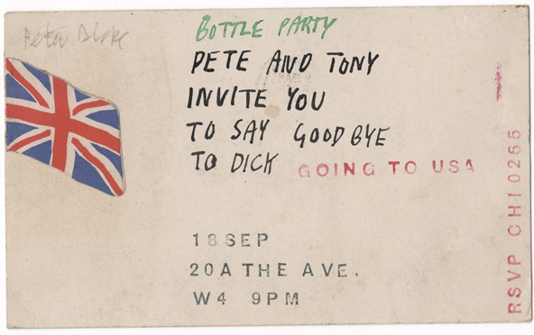 Invitation to the party to say goodbye to Richard Smith before he set sail on the Queen Mary, 1959. With kind permission of the family of Robyn Denny.