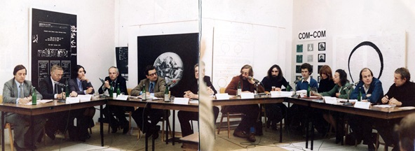 Kunst als Soziale Strategie (Bonn, 1977) Podium discussion between APG artists, from the UK, and German ministers. © APG/Tate Archive Photo: Chris Hamblin/APG. Image not licensed for reuse.