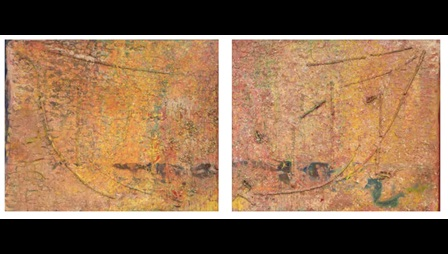 Frank Bowling, Armageddon, 1984, acrylic on canvas, 231 x 287 cm (left).  Frank Bowling, Enter the Dragon, 1984, acrylic on canvas, 230 x 278 cm (right). Image courtesy the artist and Hales Gallery. © Frank Bowling. All Rights Reserved, DACS 2019. Image not licensed for reuse.