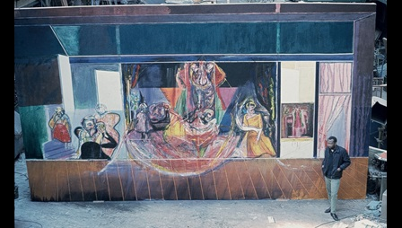 Frank Bowling with The Execution of Mary Queen of Scots 1963, at Stratford-upon-Avon, 1964. Acrylic paint on canvas, approximately 4570 x 1067mm (destroyed). Courtesy of Frank Bowling Archive. Image not licensed for reuse.