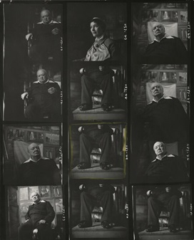 Winston Churchill by Elsbeth R. Juda, bromide contact sheet, 17 October 1954. 10 in. x 8 in. (253 mm x 204 mm) overall. Given by Elsbeth R. Juda, 1980. Photographs Collection NPG x132437. © National Portrait Gallery, London. Image not licensed for reuse.