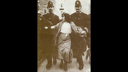 Photograph of the arrest of Dora Thewlis, 1907