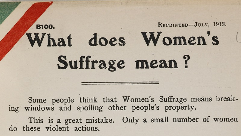 Banner for women's suffrage glossary - taken from a NUWSS pamphlet titled 'What does Women's Suffrage mean?'