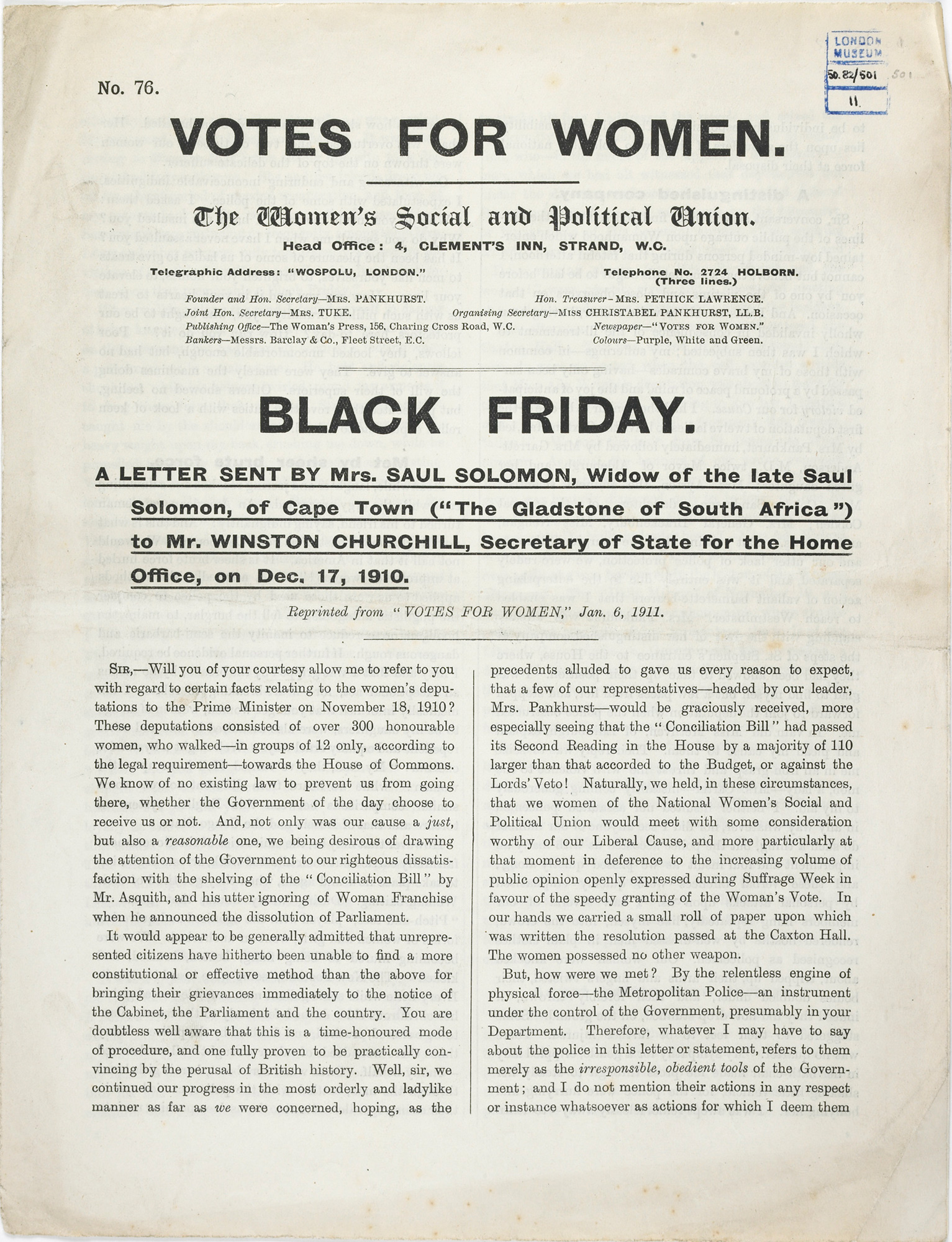 Black Friday pamphlet by Mrs Solomon