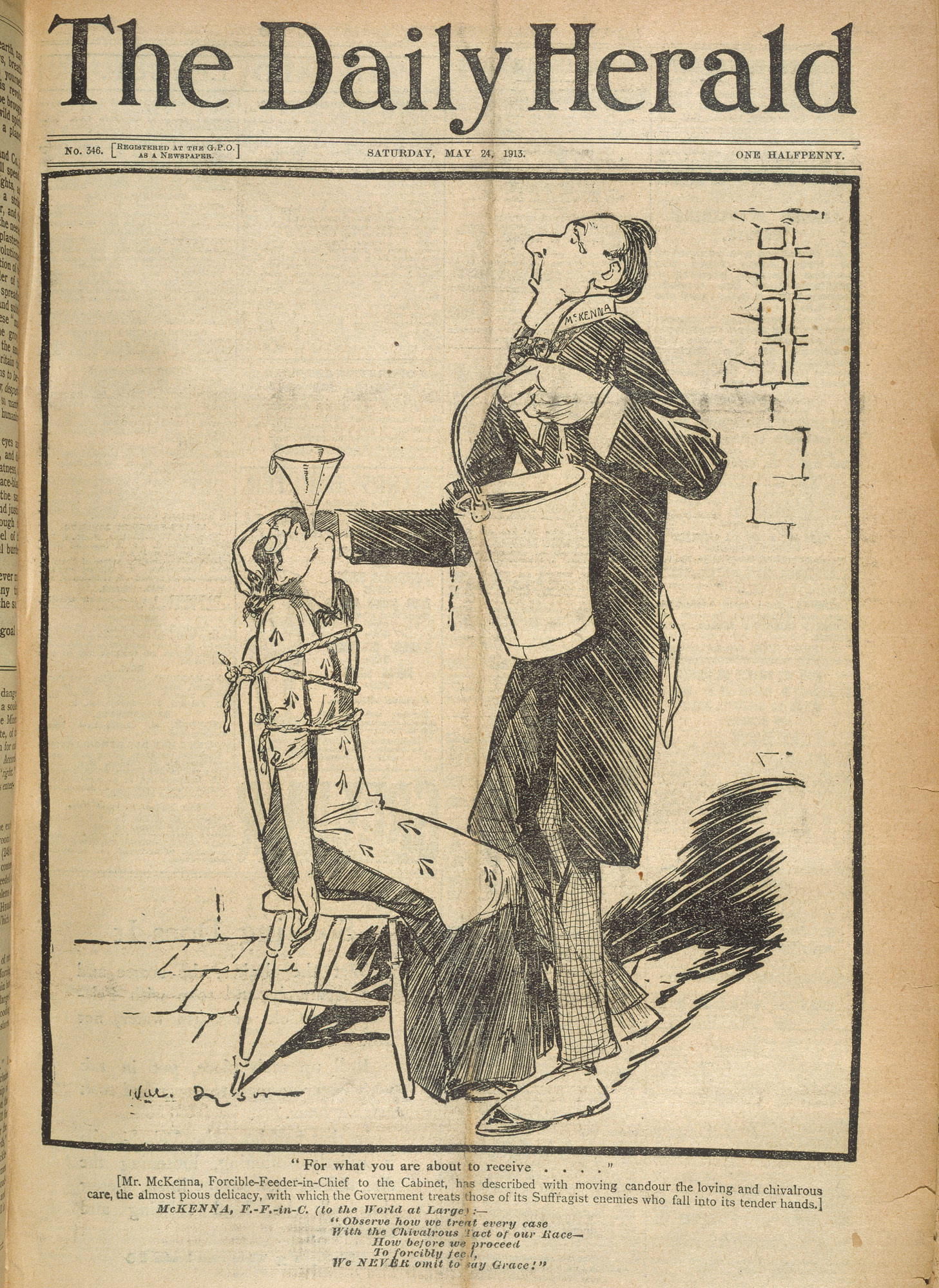 Illustration depicts Asquith force-feeding an imprisoned suffragette