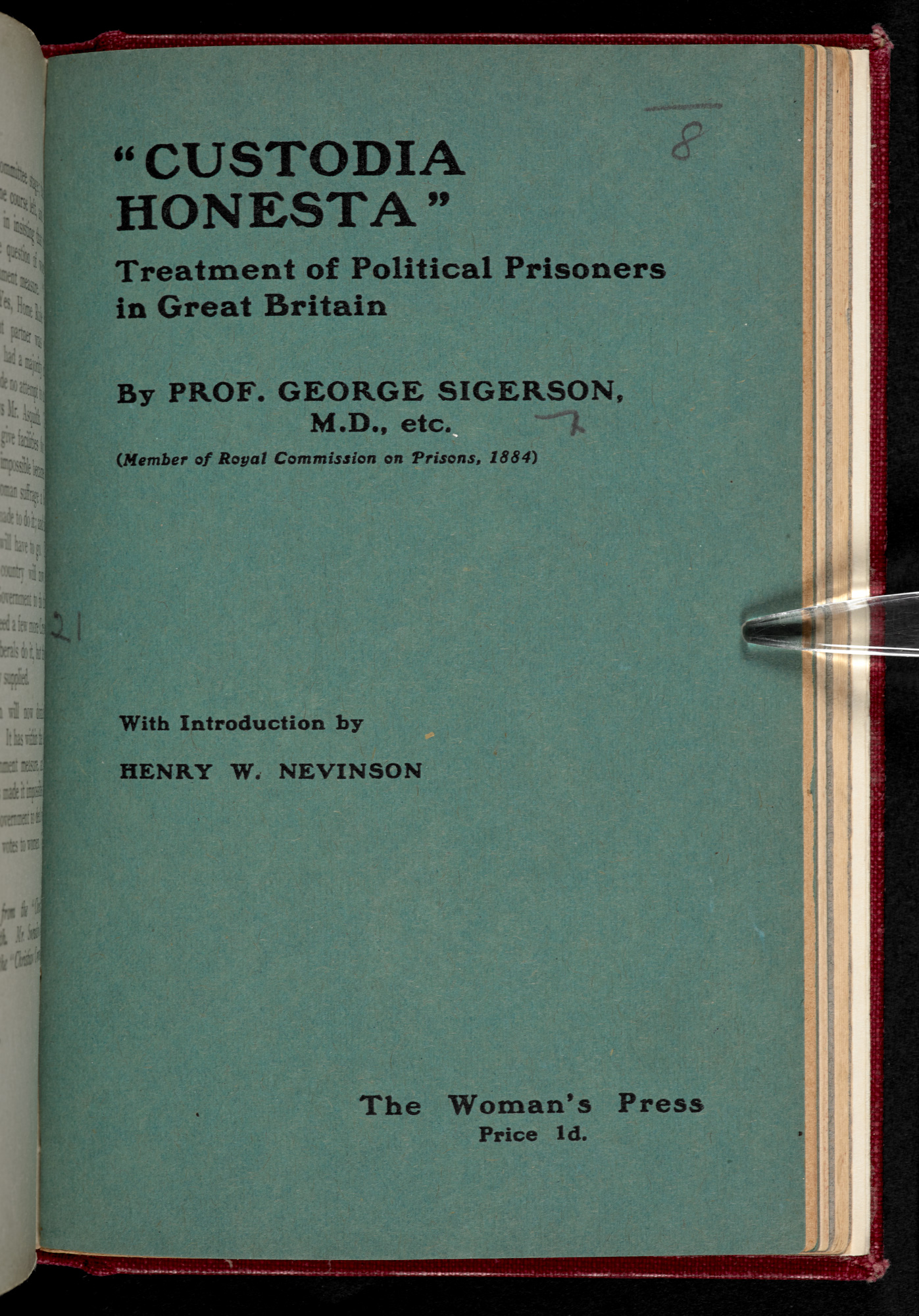Custodia Honesta pamphlet front cover