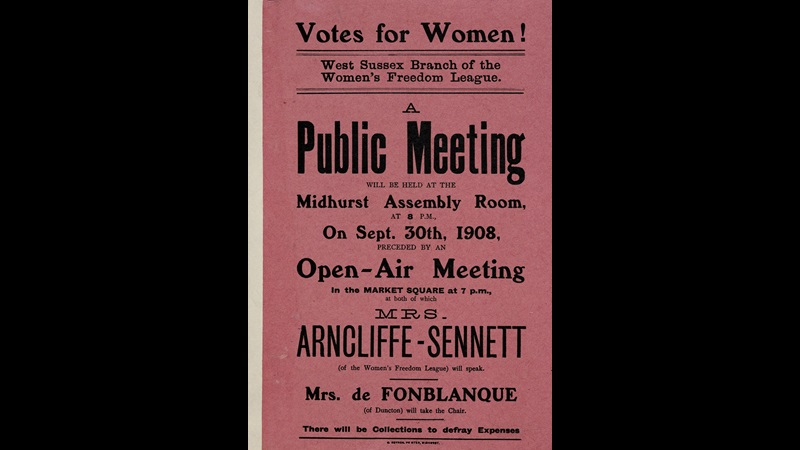 Poster of a public meeting, held by the Women's Freedom League with a speech by Maud Arncliffe Sennett, with a header reading 'Votes for Women!'