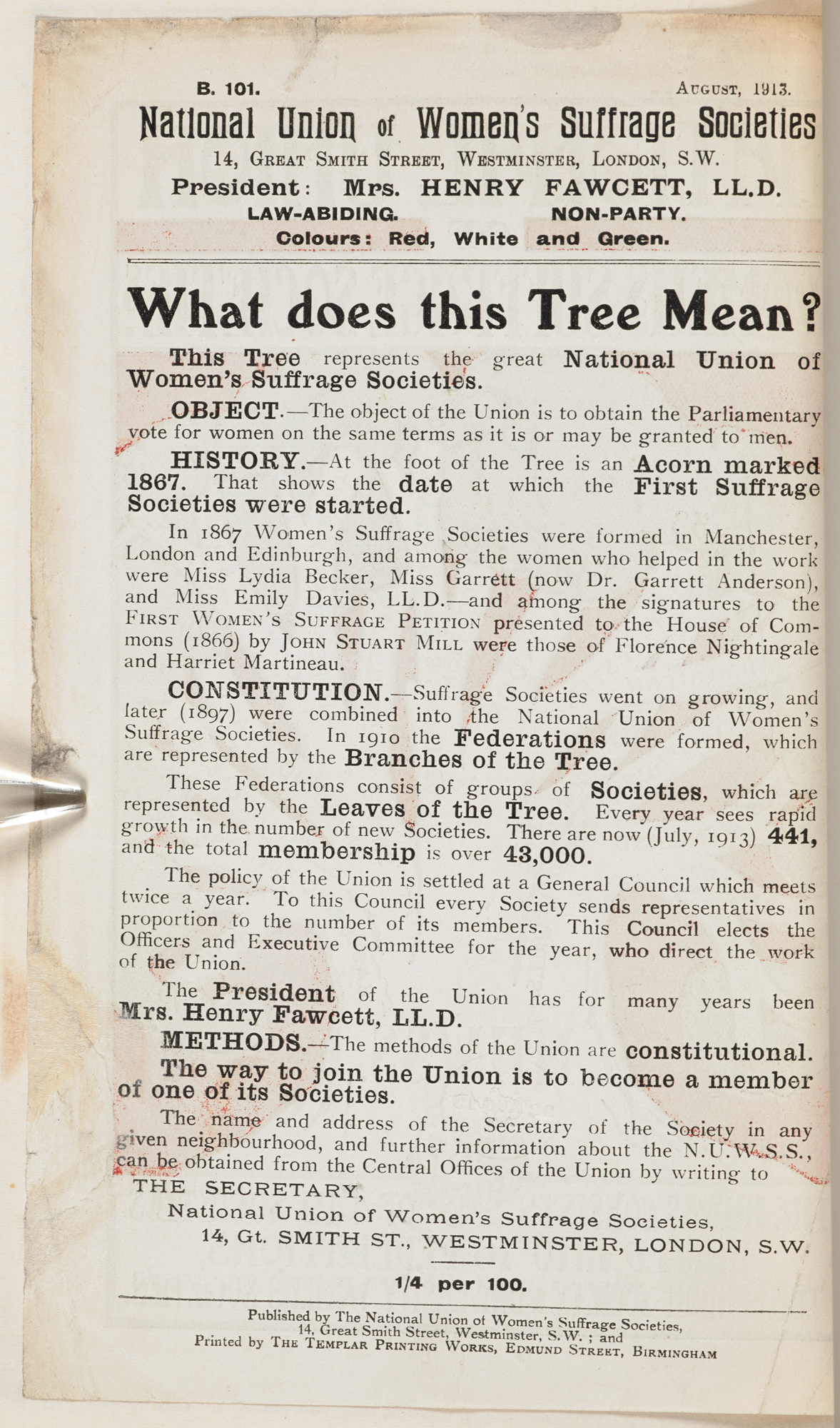 Pamphlet showing the branches of the NUWSS