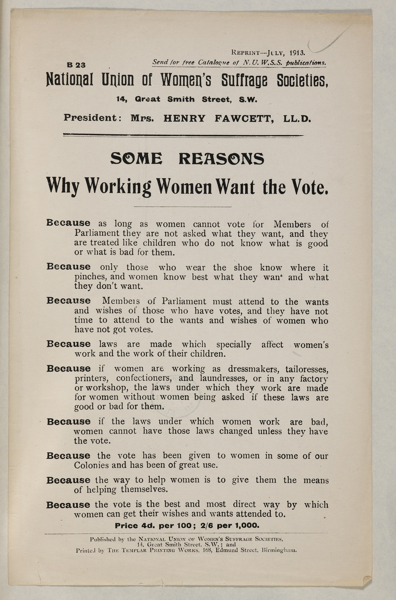 Why Working Women Want the Vote