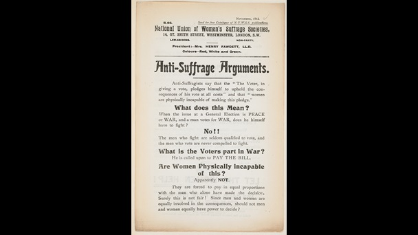 Printed pamphlet of anti-suffrage arguments