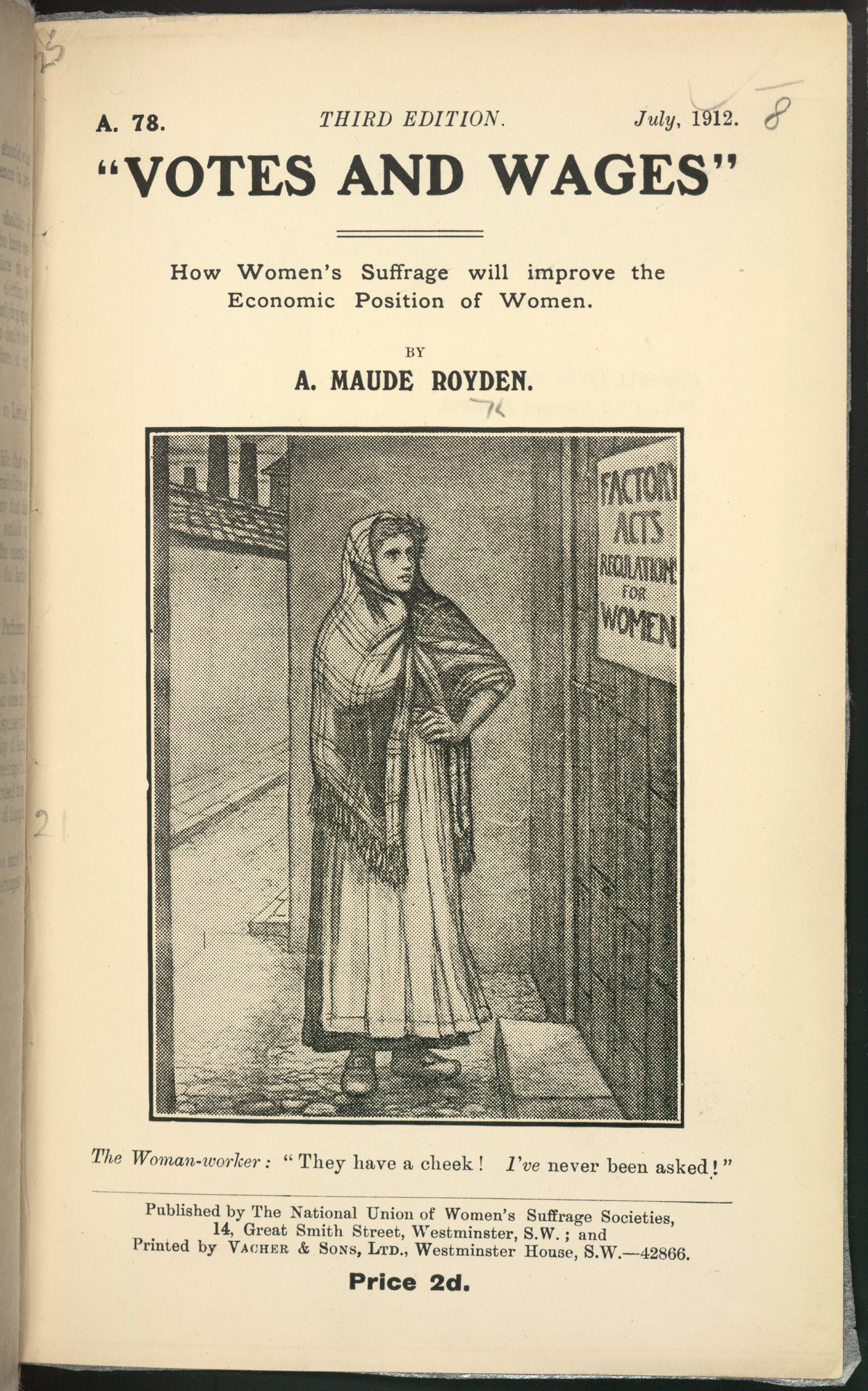 Votes and wages pamphlet by Agnes Maude Royden. The large illustration in the middle of the page depicts a working class woman in a shawl