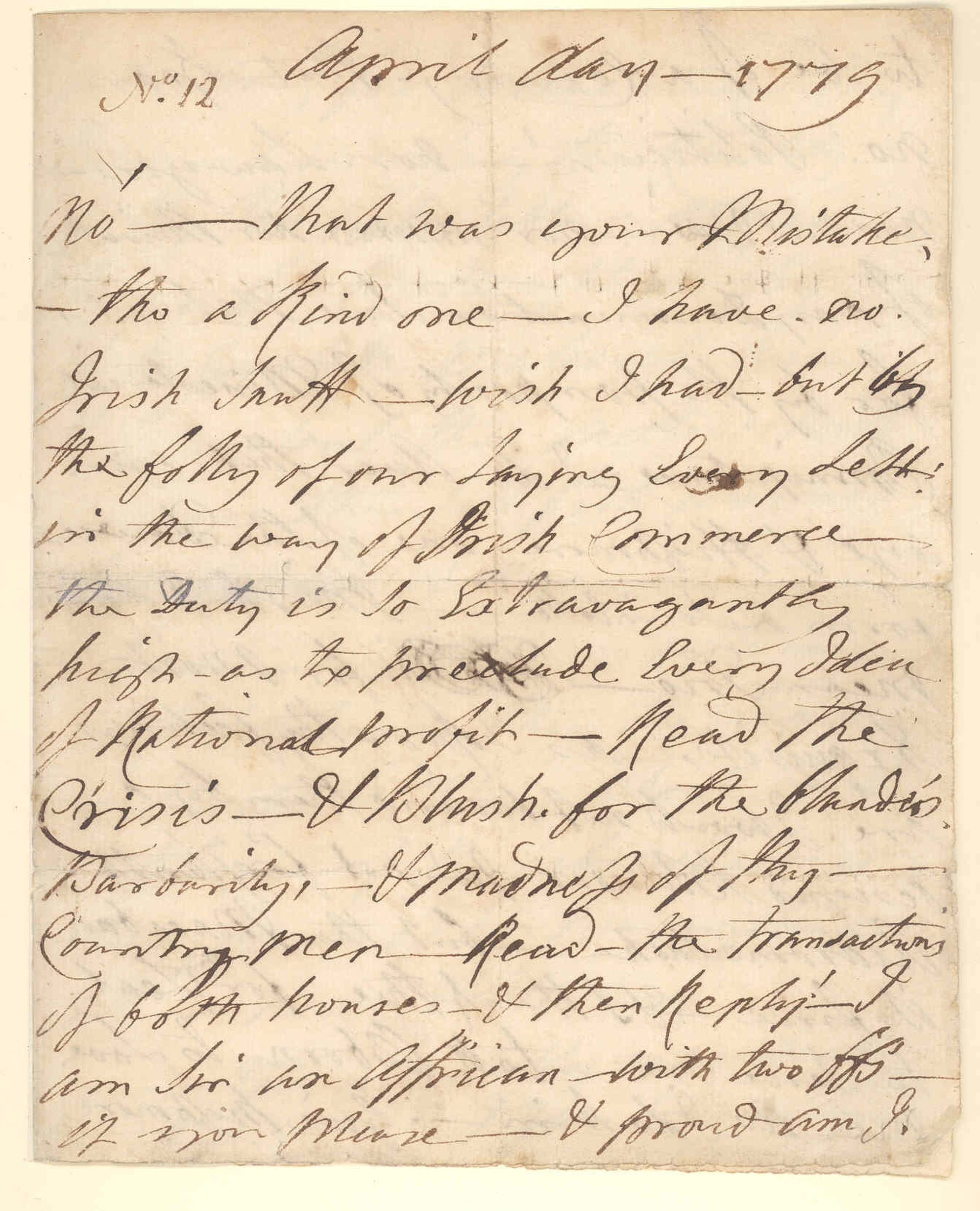 Letter from Ignatius Sancho to William Stevenson, April 1779.