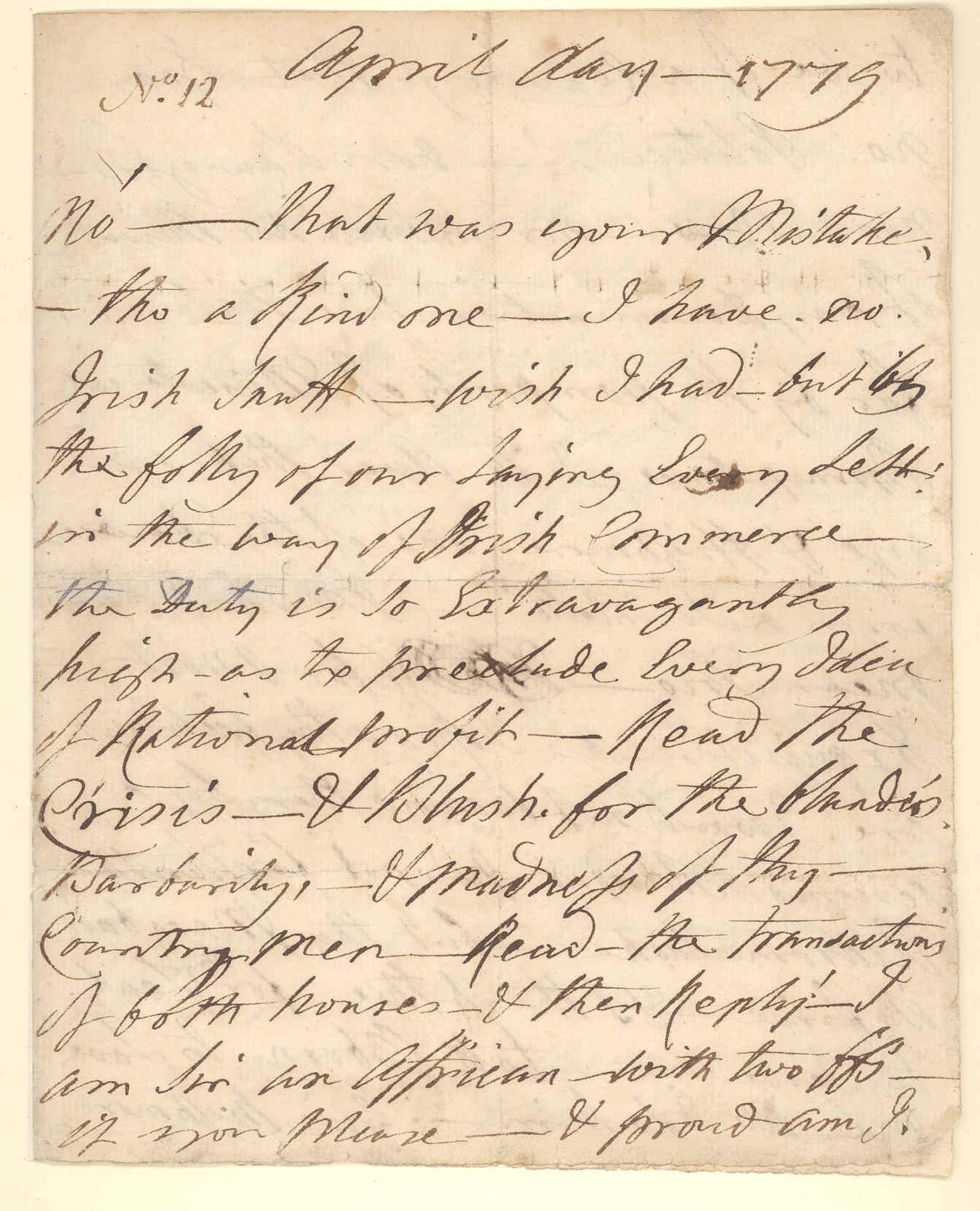 Letter from Ignatius Sancho to William Stevenson, April 1779.