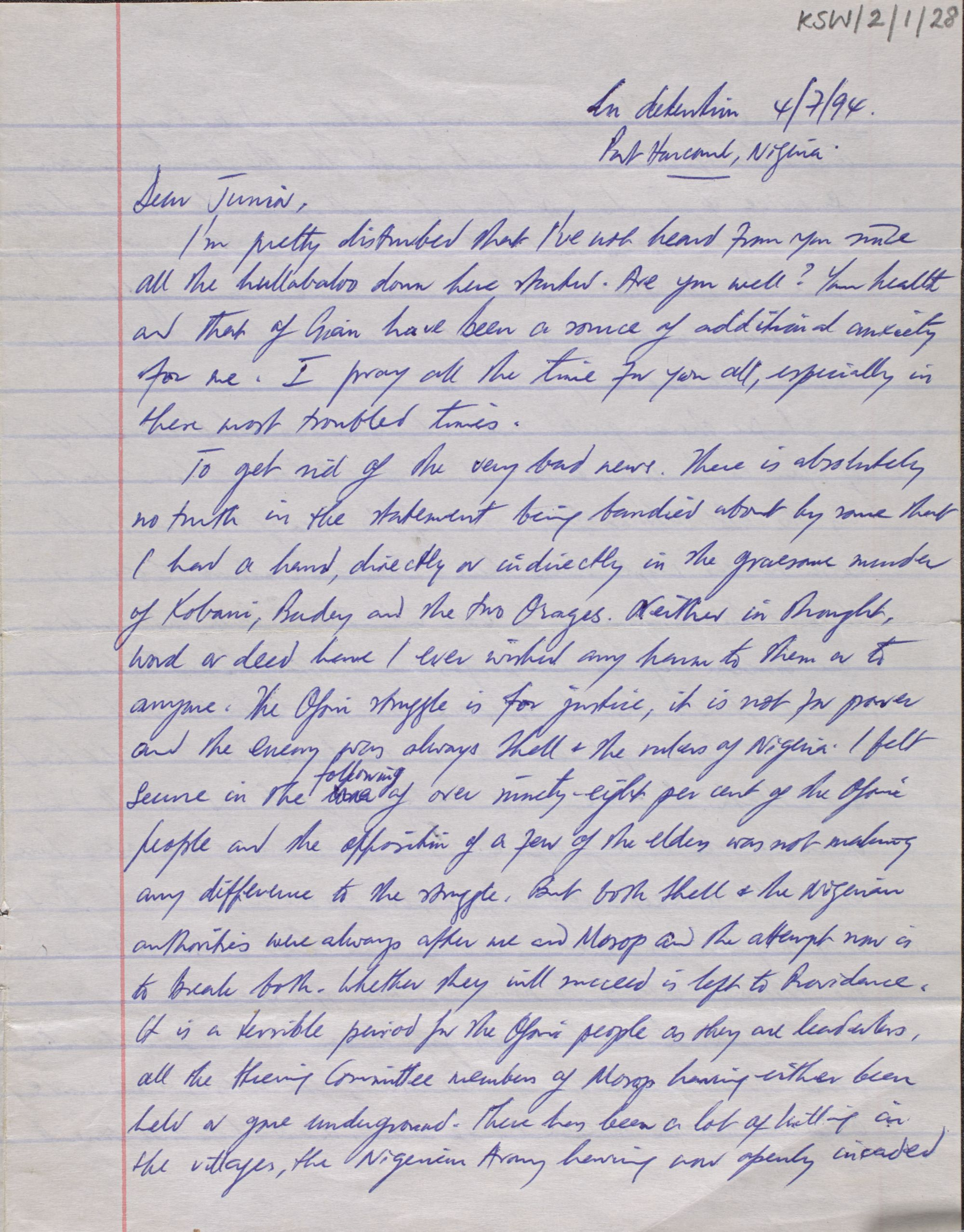 A letter sent from prison by Ken Saro-Wiwa to Ken Saro-Wiwa Jnr, 4 July 1994 before his execution.