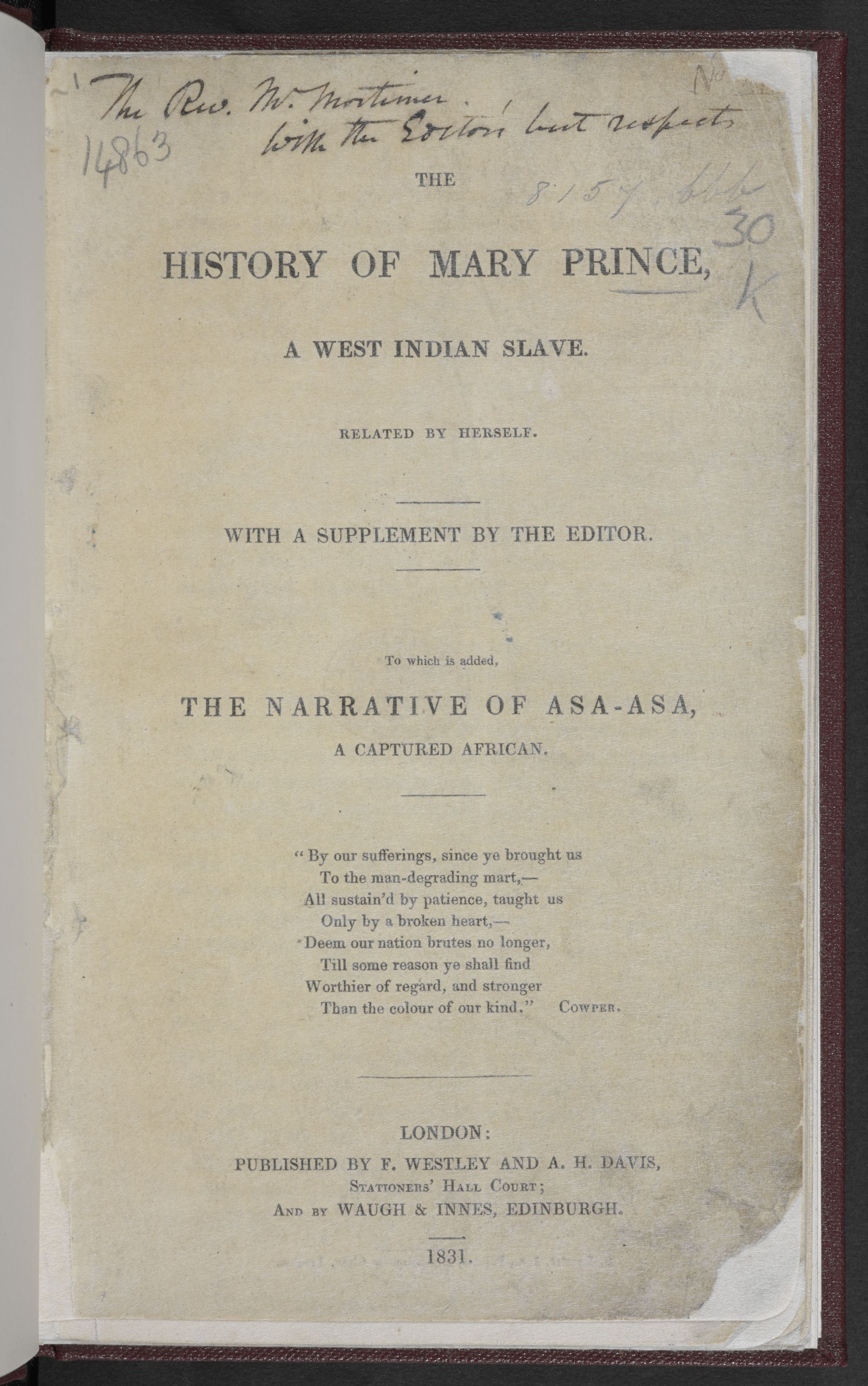 Mary Prince history title page