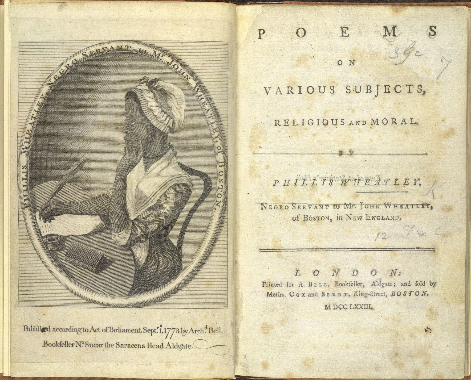 Title page of Phillis Wheatley, Poems on various subjects, religious and moral
