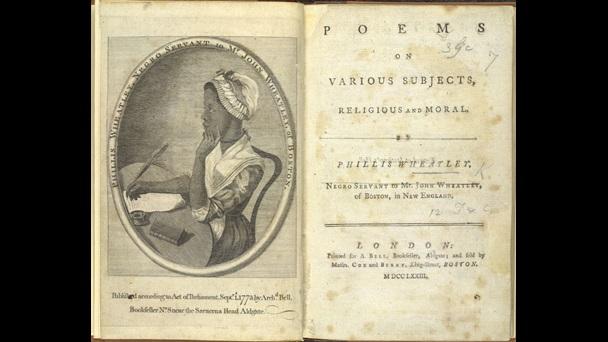 Portrait of Phillis Wheatley sat writing at a desk, opposite the title page from her book Poems on various subjects, religious and moral, 1773