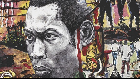 Album cover for Fela Kuti's 'Sorrow, Tears & Blood', artwork courtesy of Lemi Ghariokwu, 1977