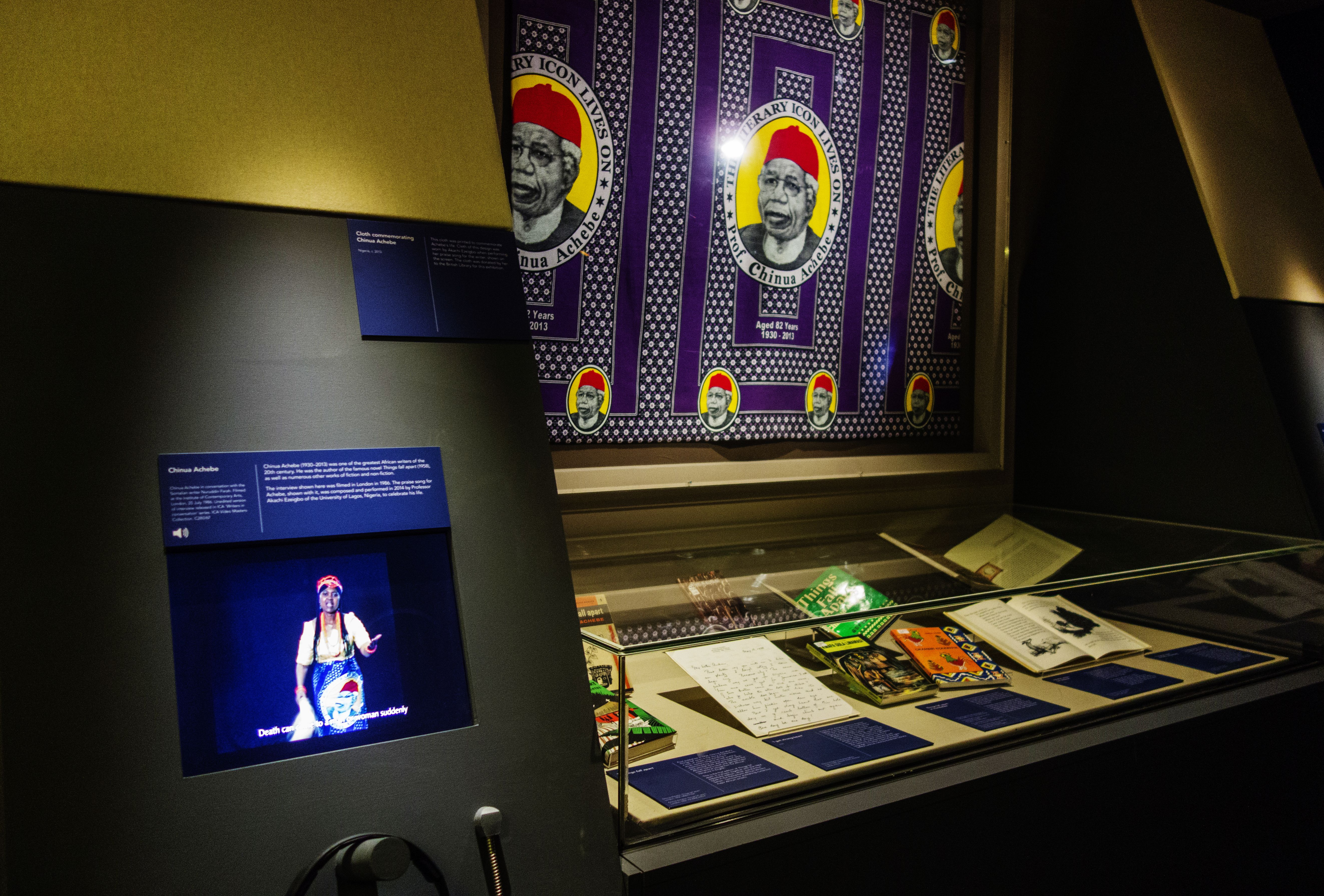 Case showing 'Things fall apart' and other work by Chinua Achebe in the British Library's 'West Africa: Word, Symbol, Song' exhibition
