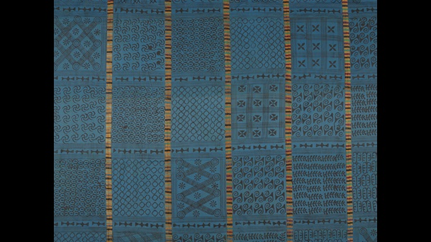 Cloth showing adinkra symbols from Ghana, ?1960s