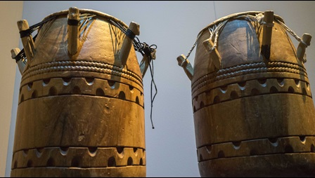 A pair of Asante atumpan drums from Ghana on display in the British Library's 'West Africa: Word, Symbol, Song' exhibition