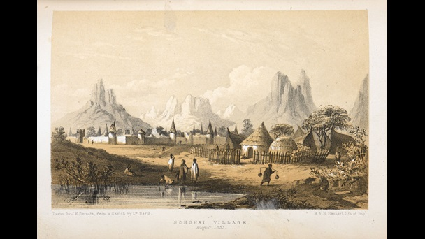 Image of a Songhai village from Heinrich Barth's Travels and discoveries in North and Central Africa, 1857–58