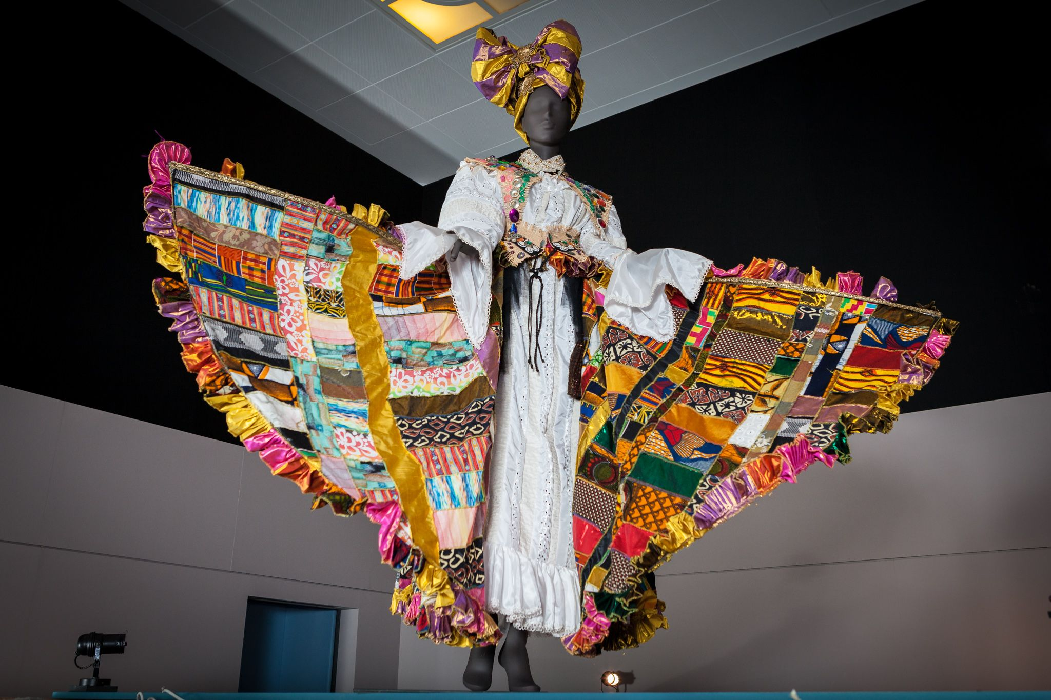 Bele carnival costume. Designed by Ray Mahabir of Sunshine International Arts. Photo: Toby Keane. This item was on display in the British Library's 'West Africa: Word, Symbol, Song' exhibition 2015-2016