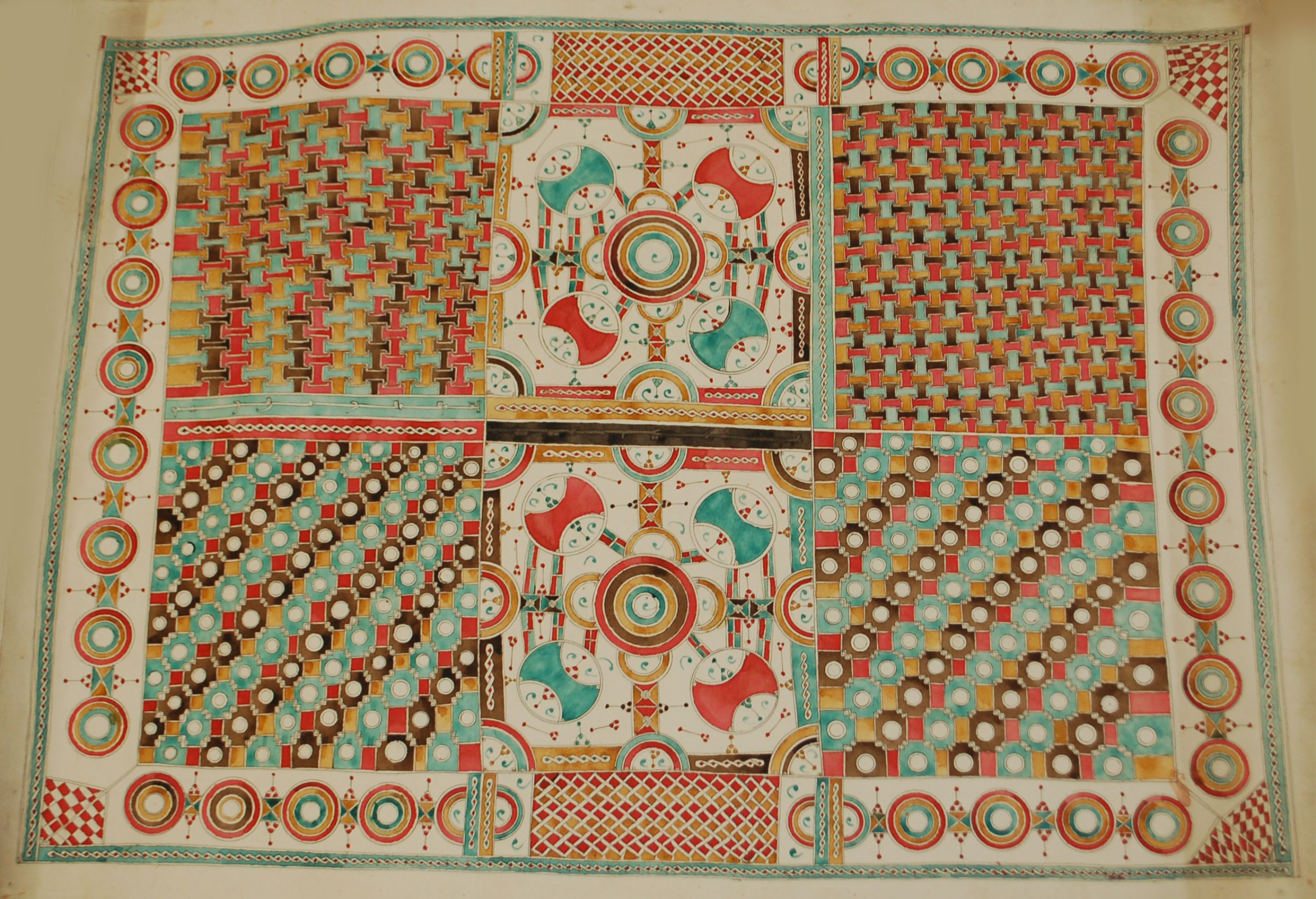 This pattern-sheet shows the rich decorative style used to illuminate Islamic religious manuscripts in northern Nigeria.