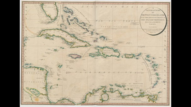 Map published in 1796 of the Caribbean region, colour-coded to show which colonies were controlled by Britain, France and Spain