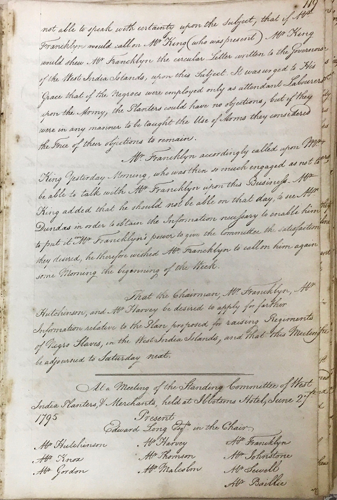 West India Committee, Standing Committee Minutes 27th June 1795