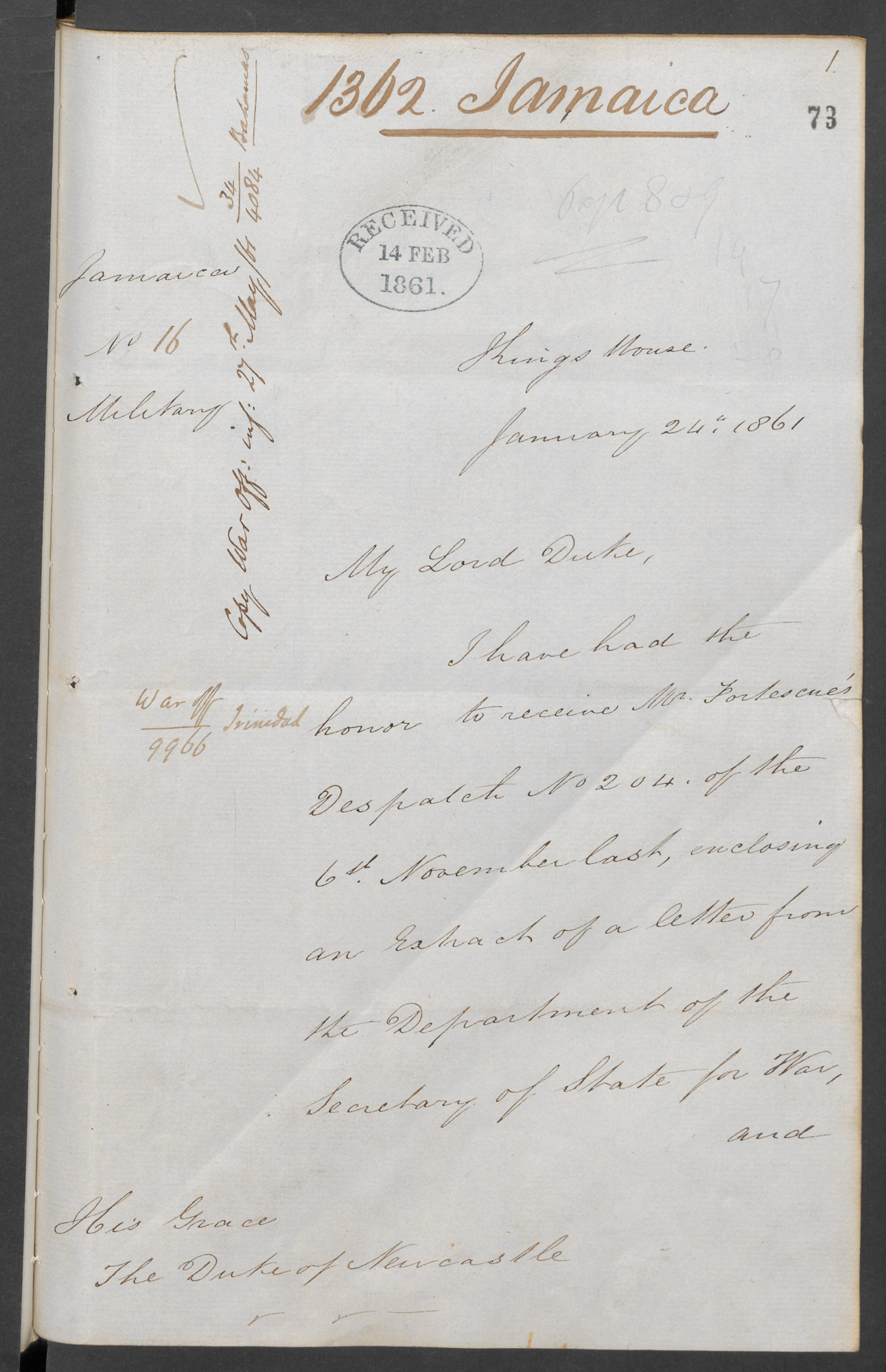 Charles Henry Darling, governor of Jamaica, to the Duke of Newcastle, Secretary of State for the Colonies, 24 Jan 1861