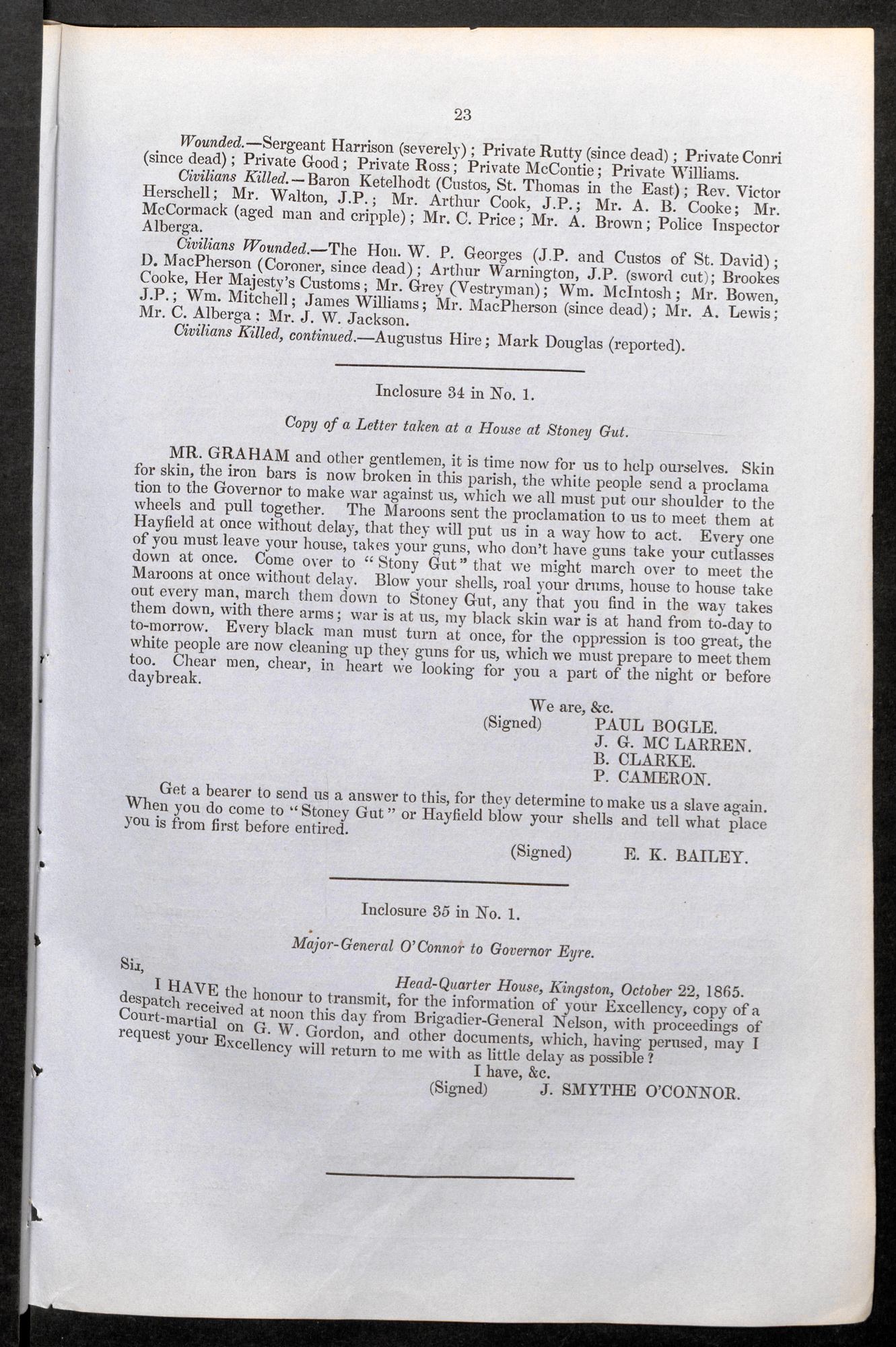 Proclamation of 17 October signed by Paul Bogle and his associates