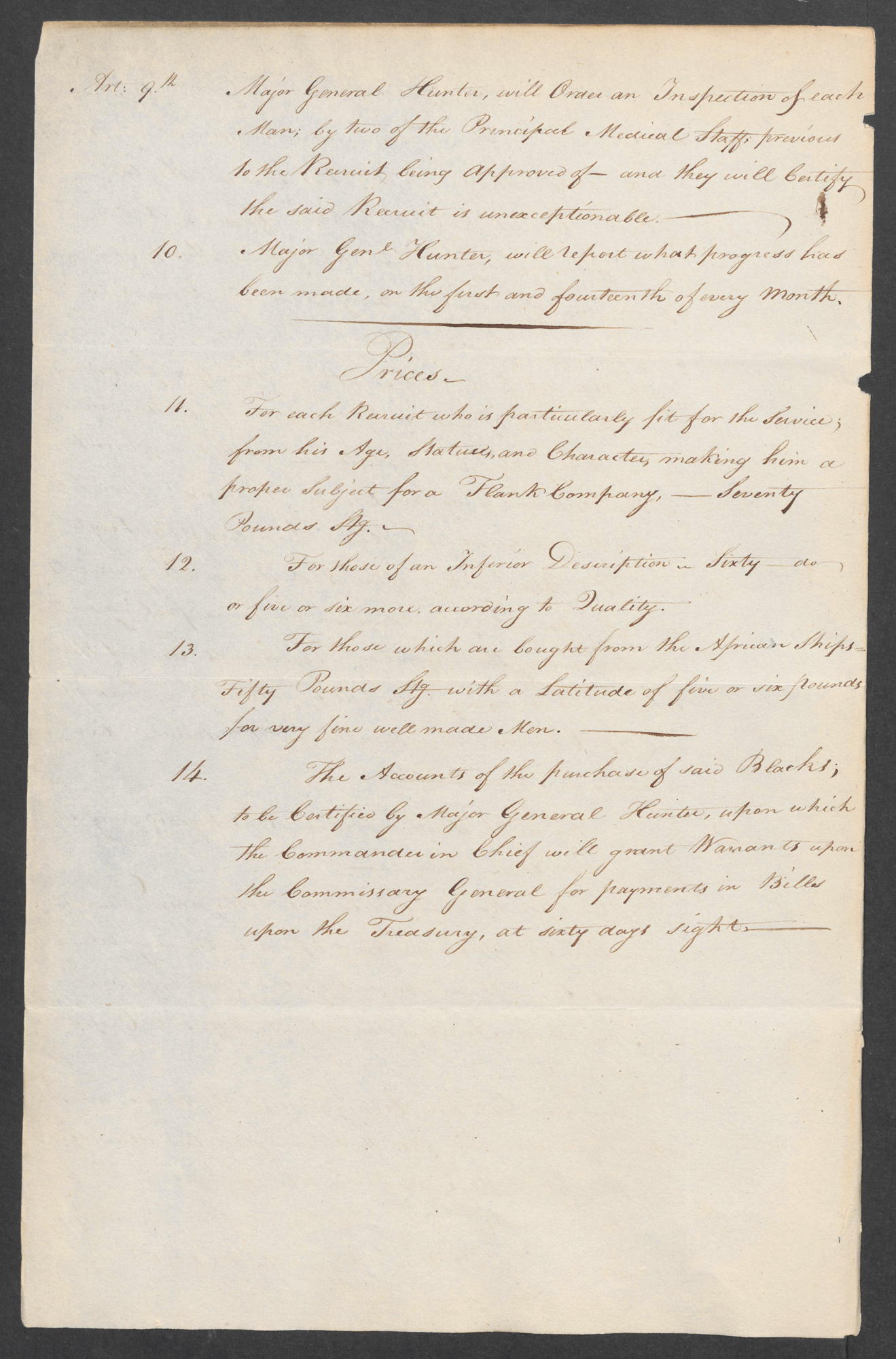 Heads of Instructions to Major Genl Hunter 26 Jan 1797