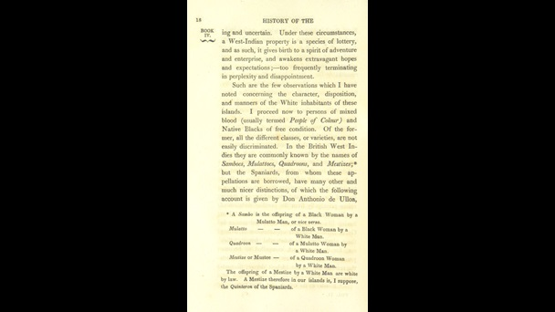 Page 18 from The History, Civil and Commercial, of the West Indies, containing a description of the different groups of people to be found in Caribbean societies