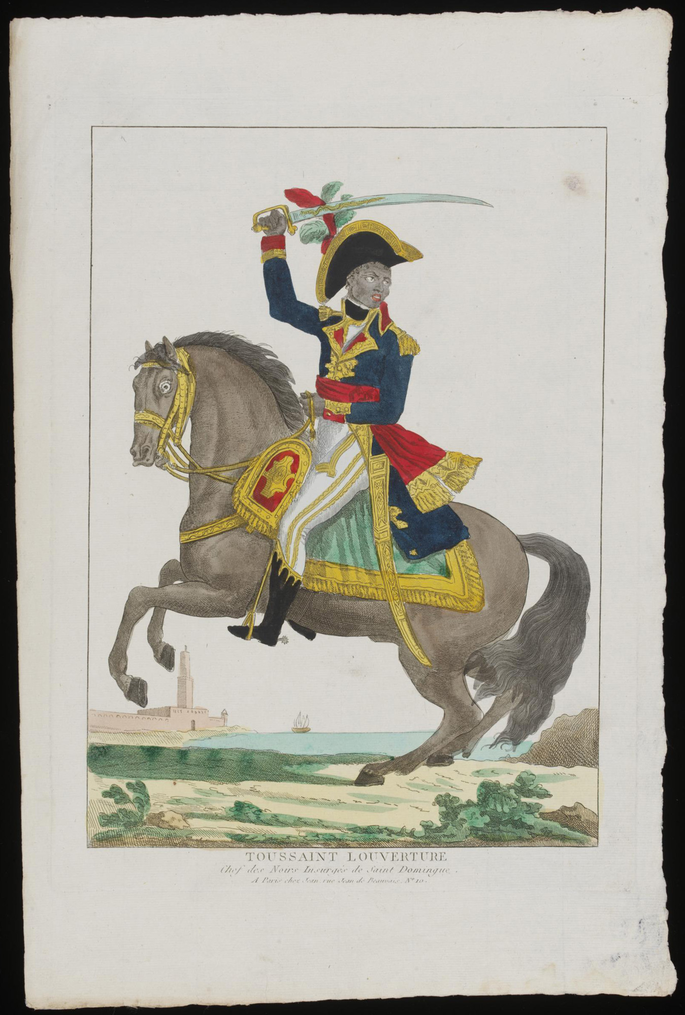 Hand coloured etching depicting Toussaint L'Ouverture seated on a horse wearing the full dress uniform of an officer and carrying a sabre above his head