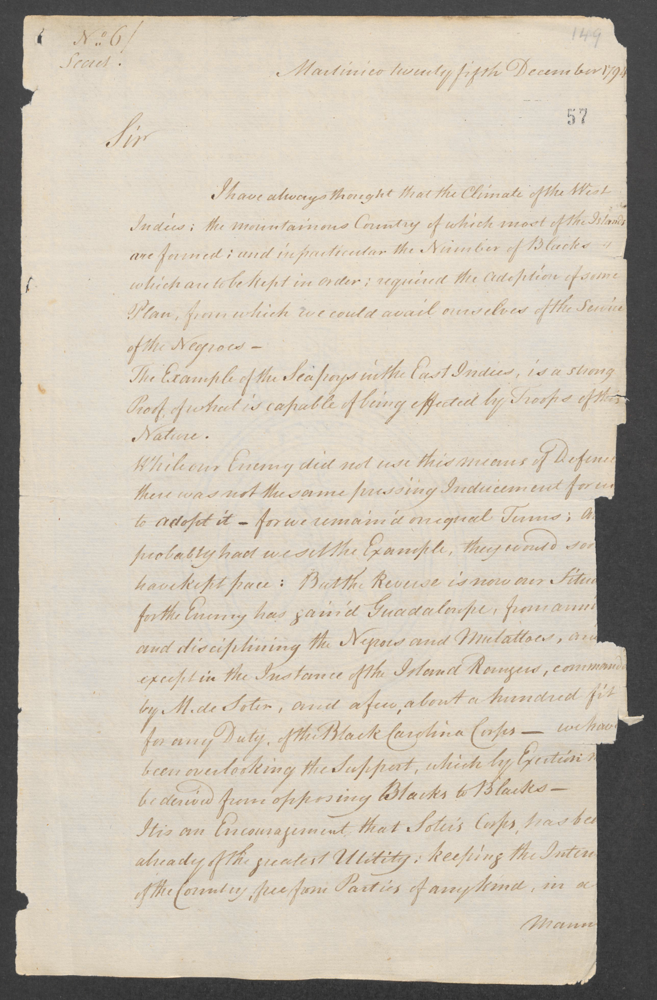Vaughan to Dundas 'Secret No 6' Martinique Dec 25, 1794